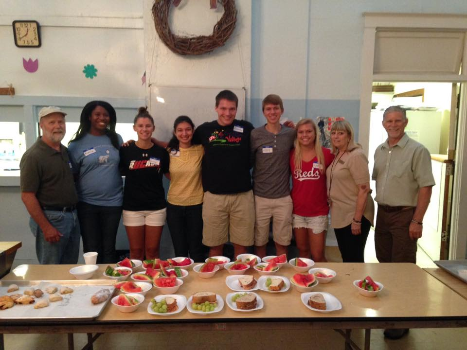 Photo: University of Cincinnati's Serve Beyond student group helped serve lunch at Lazarus Table for Grand Avenue Temple. They spent a week working at the Olive St project in Summer of 2016.