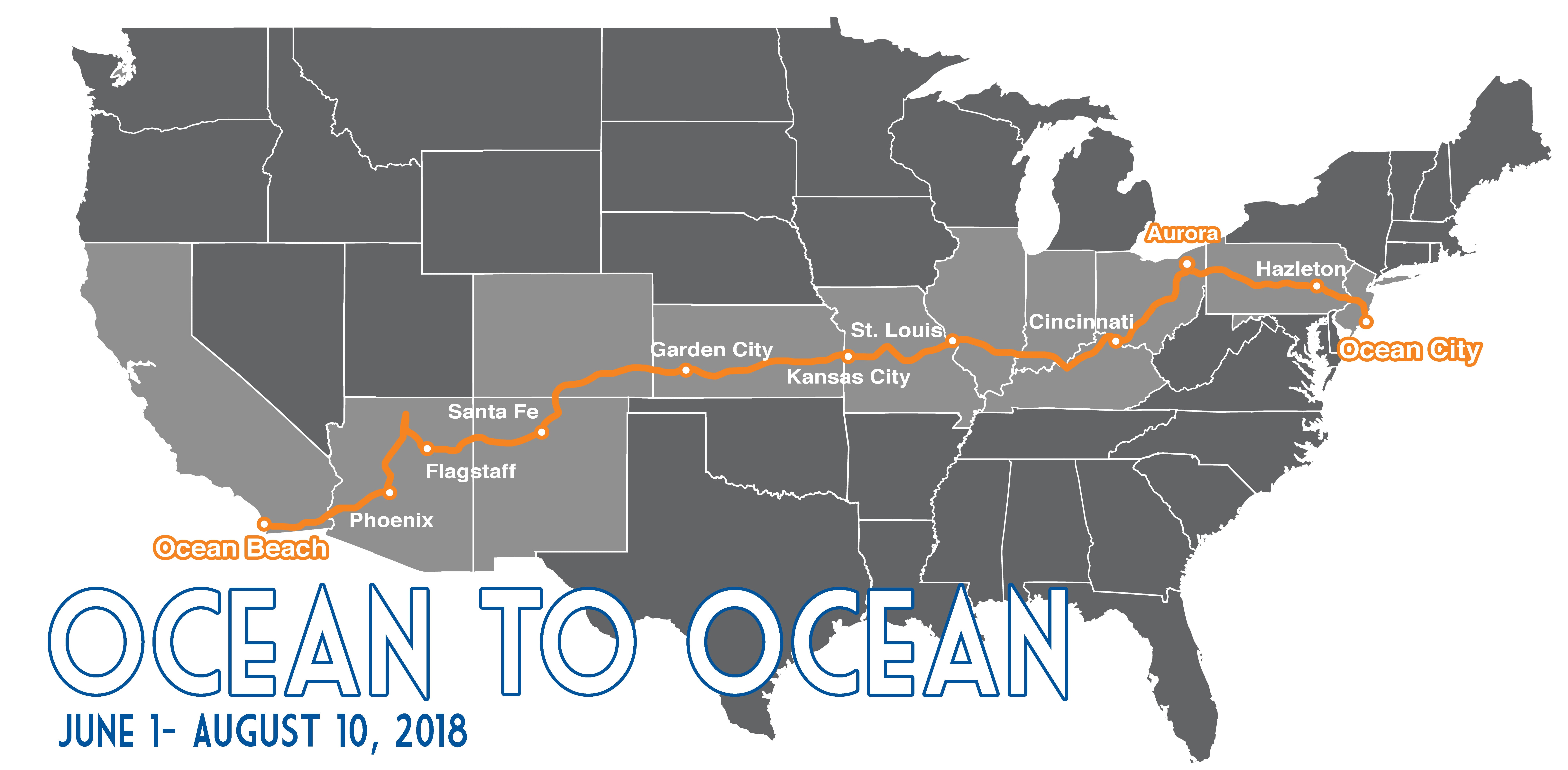 Graphic: USA Map of the Ocean to Ocean Fuller Center Bicycle Adventure 2018