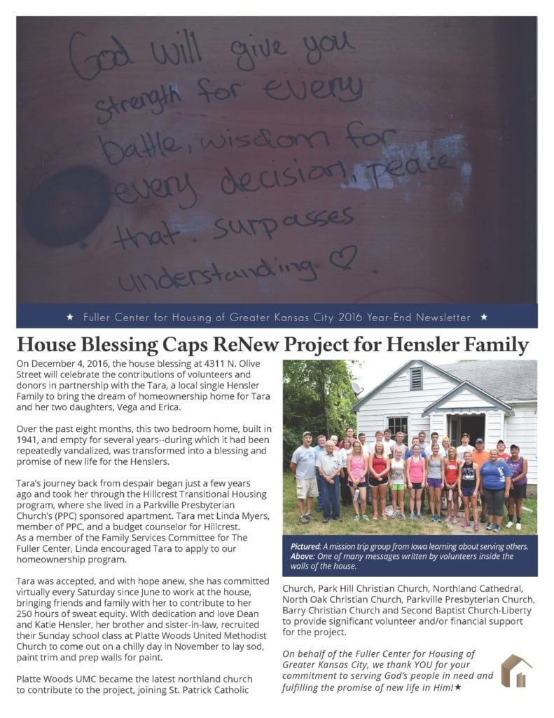 Screenshot: Front page of Fuller Center for Housing of Greater Kansas City newsletter