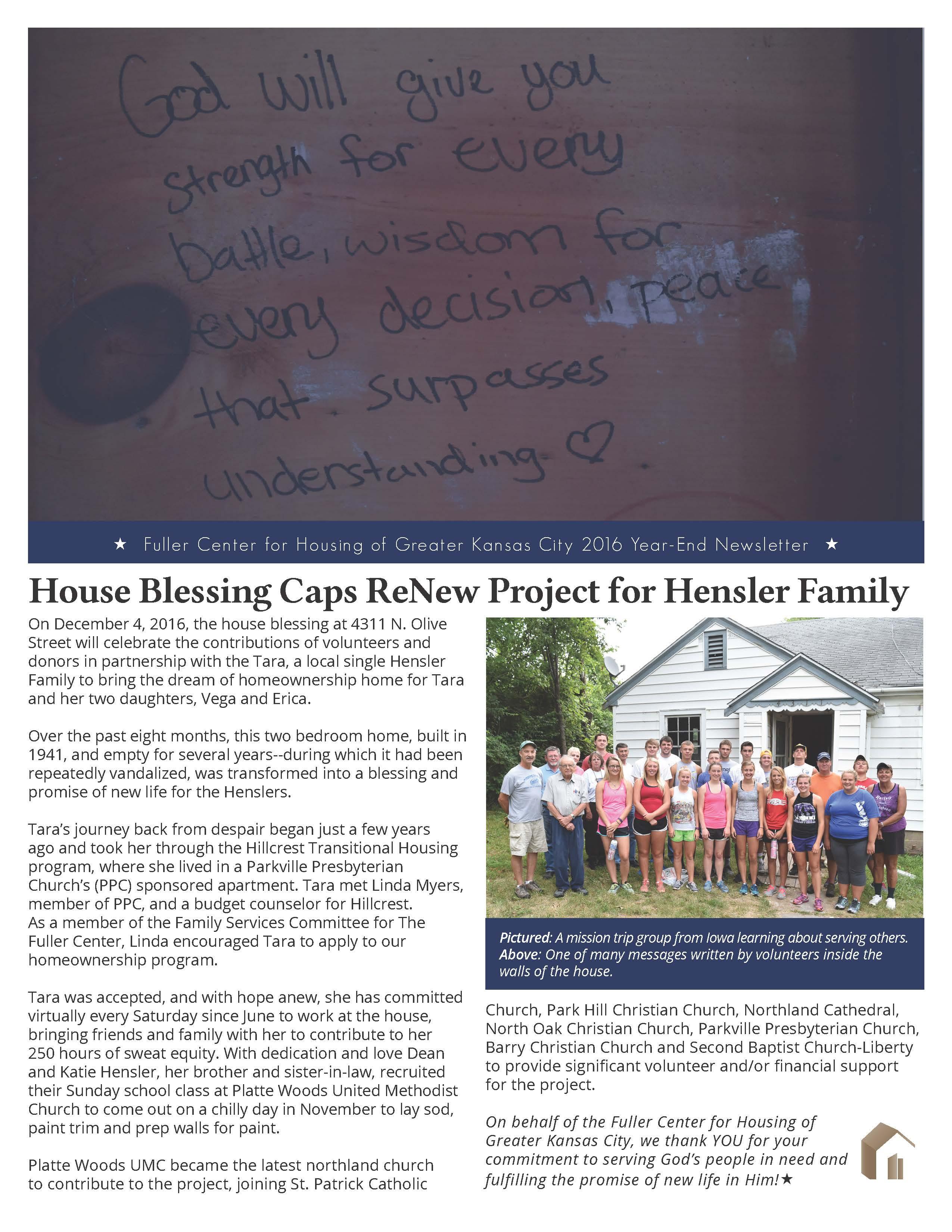 Screenshot: Front page of Fuller Center for Housing of Greater Kansas City newsletter