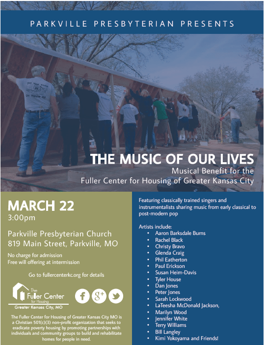 Screenshot: Music of Our Lives Benefit Flyer.